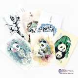 Hand-Painted Postcards: Colorful life of panda (6 pieces)