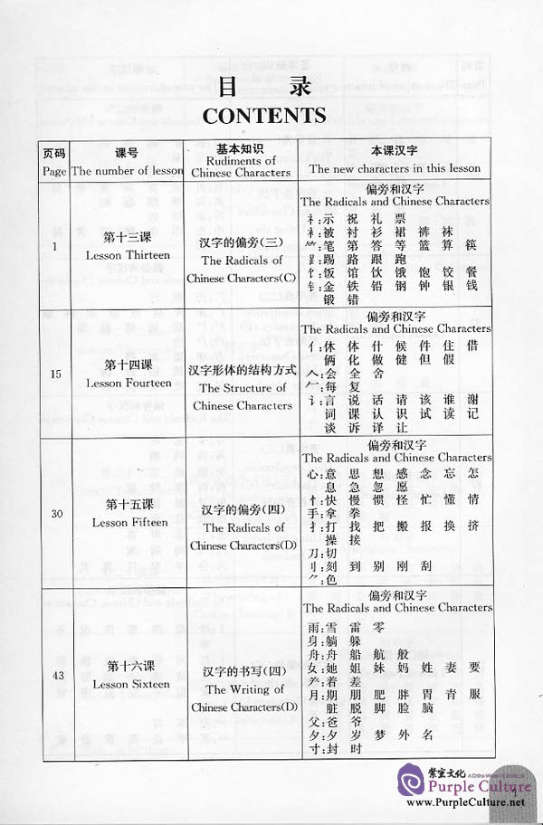 Sample pages of Leaning Chinese Characters From Ms.Zhang: Reading and Writing Chinese Characters (B) - Textbook (ISBN:9787561914649/7561914644)