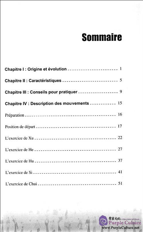 Table of contents: Le qigong pour la santé: Liu Zi Jue(DVD inclus) (ISBN:9787119056791)