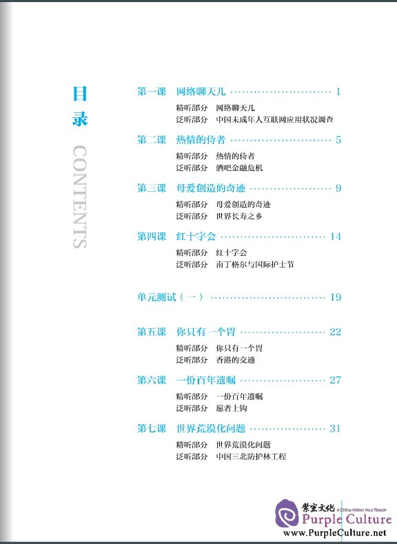 Table of contents: Advanced Chinese Listening (2nd Edition) I (with Listening Scripts and Reference Answers, MP3) (ISBN:9787561936306)