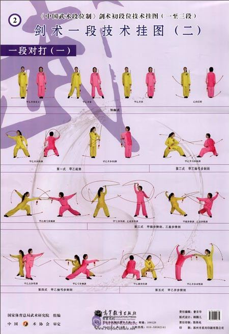 Sample pages of Textbook Series of Chinese Wushu Duanwei System: Jianshu Elementary Duan (1st Duan, 2nd Duan, 3rd Duan) Wall Chart (ISBN:9787040299335)