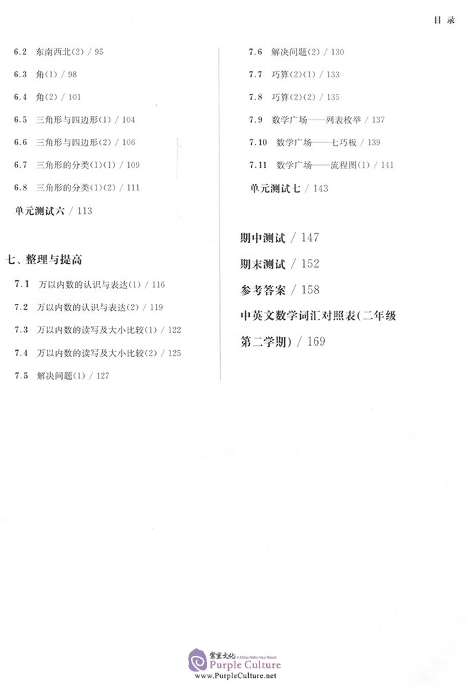 Table of contents: Shanghai Maths One Lesson One Exercise: Grade 2 (Second Semester) (ISBN:9787567572973)