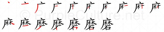 Stroke order image for Chinese character 磨