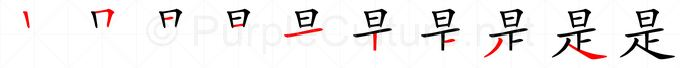 Stroke order image for Chinese character 是
