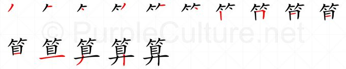 Stroke order image for Chinese character 算