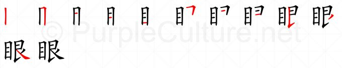 Stroke order image for Chinese character 眼