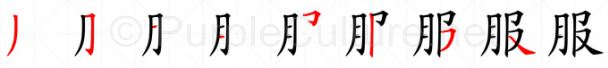 Stroke order image for Chinese character 服