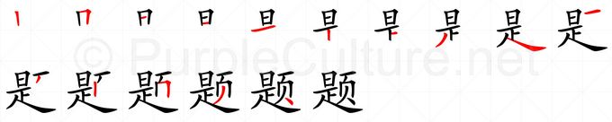 Stroke order image for Chinese character 题