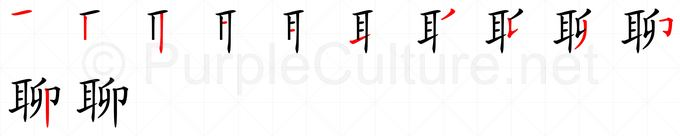 Stroke order image for Chinese character 聊