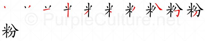 Stroke order image for Chinese character 粉