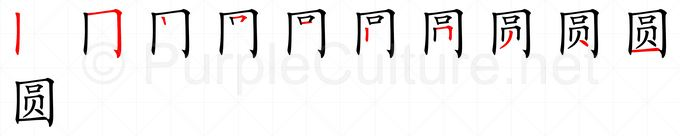 Stroke order image for Chinese character 圆