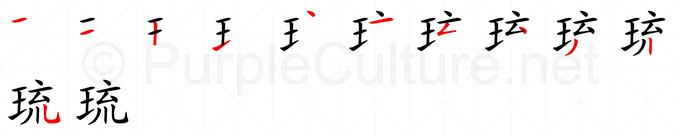 Stroke order image for Chinese character 琉