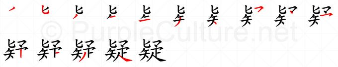 Stroke order image for Chinese character 疑