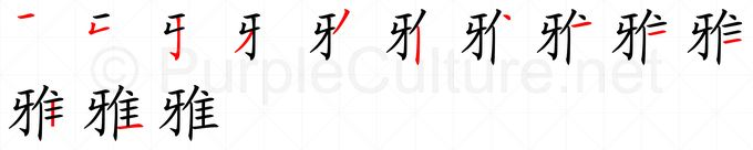 Stroke order image for Chinese character 雅