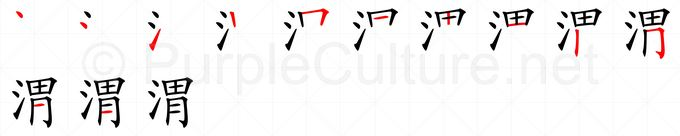 Stroke order image for Chinese character 渭