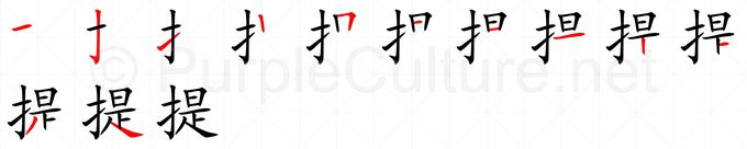 Stroke order image for Chinese character 提