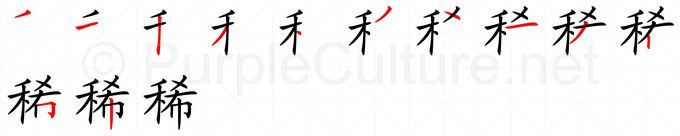 Stroke order image for Chinese character 稀