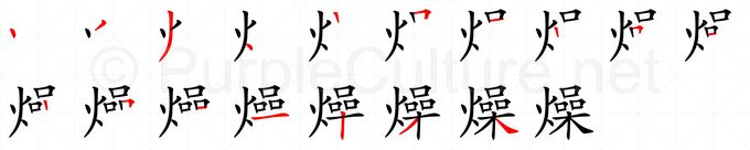 Stroke order image for Chinese character 燥
