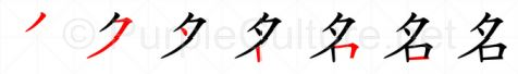 Stroke order image for Chinese character 名