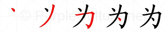 Stroke order image for Chinese character 为
