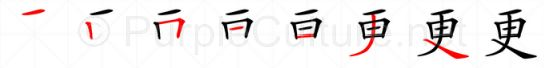 Stroke order image for Chinese character 更