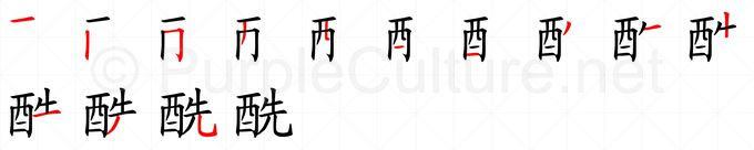 Stroke order image for Chinese character 酰