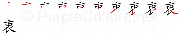 Stroke order image for Chinese character 衷