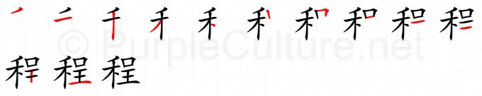 Stroke order image for Chinese character 程