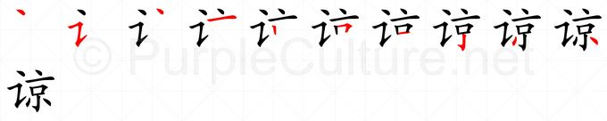 Stroke order image for Chinese character 谅