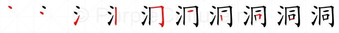 Stroke order image for Chinese character 洞