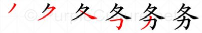 Stroke order image for Chinese character 务