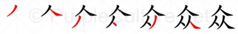 Stroke order image for Chinese character 众
