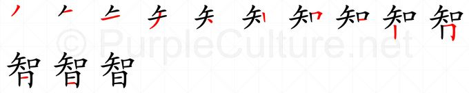 Stroke order image for Chinese character 智