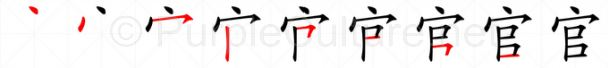Stroke order image for Chinese character 官