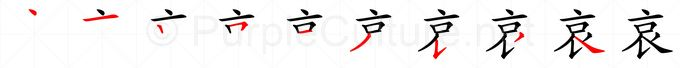 Stroke order image for Chinese character 哀