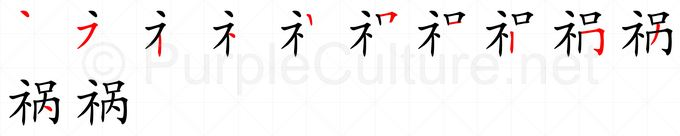 Stroke order image for Chinese character 祸