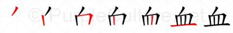 Stroke order image for Chinese character 血