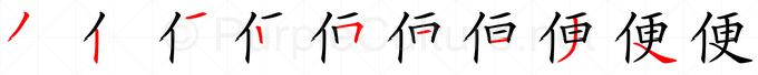 Stroke order image for Chinese character 便