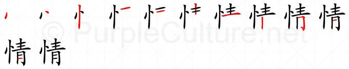 Stroke order image for Chinese character 情
