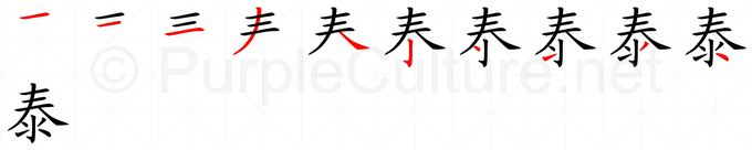 Stroke order image for Chinese character 泰