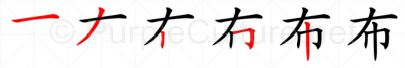 Stroke order image for Chinese character 布
