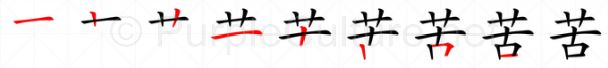 Stroke order image for Chinese character 苦