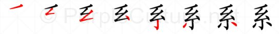 Stroke order image for Chinese character 系