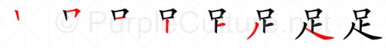 Stroke order image for Chinese character 足