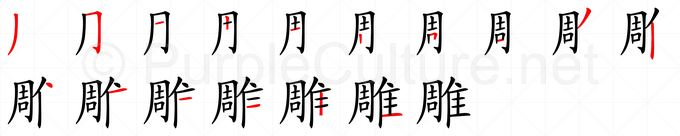 Stroke order image for Chinese character 雕