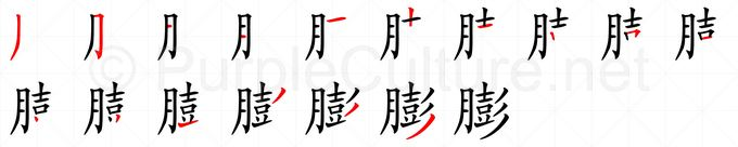 Stroke order image for Chinese character 膨