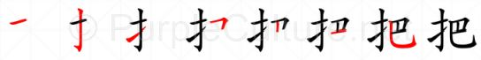 Stroke order image for Chinese character 把