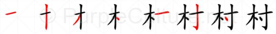 Stroke order image for Chinese character 村