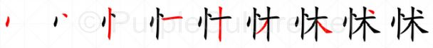 Stroke order image for Chinese character 怵