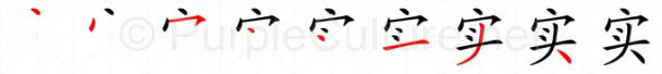 Stroke order image for Chinese character 实